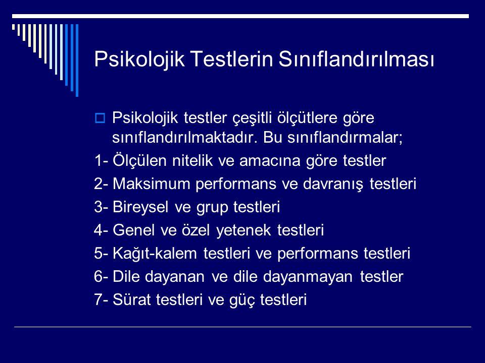Psikolojik Testlerin Sınıflandırılması