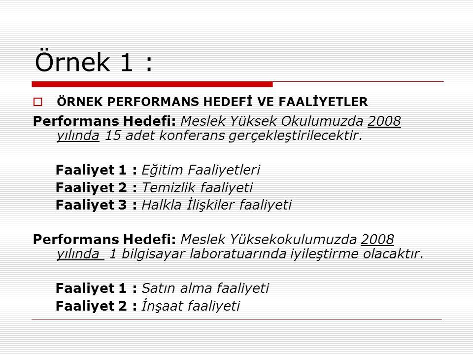 Örnek 1 : ÖRNEK PERFORMANS HEDEFİ VE FAALİYETLER. Performans Hedefi: Meslek Yüksek Okulumuzda 2008 yılında 15 adet konferans gerçekleştirilecektir.