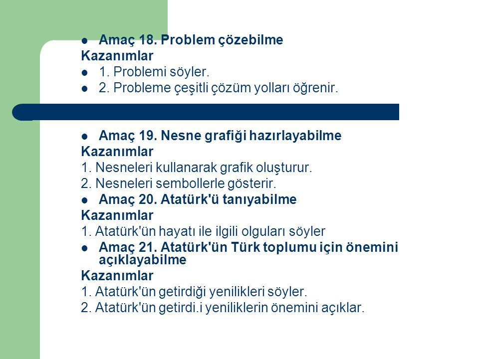 Amaç 18. Problem çözebilme