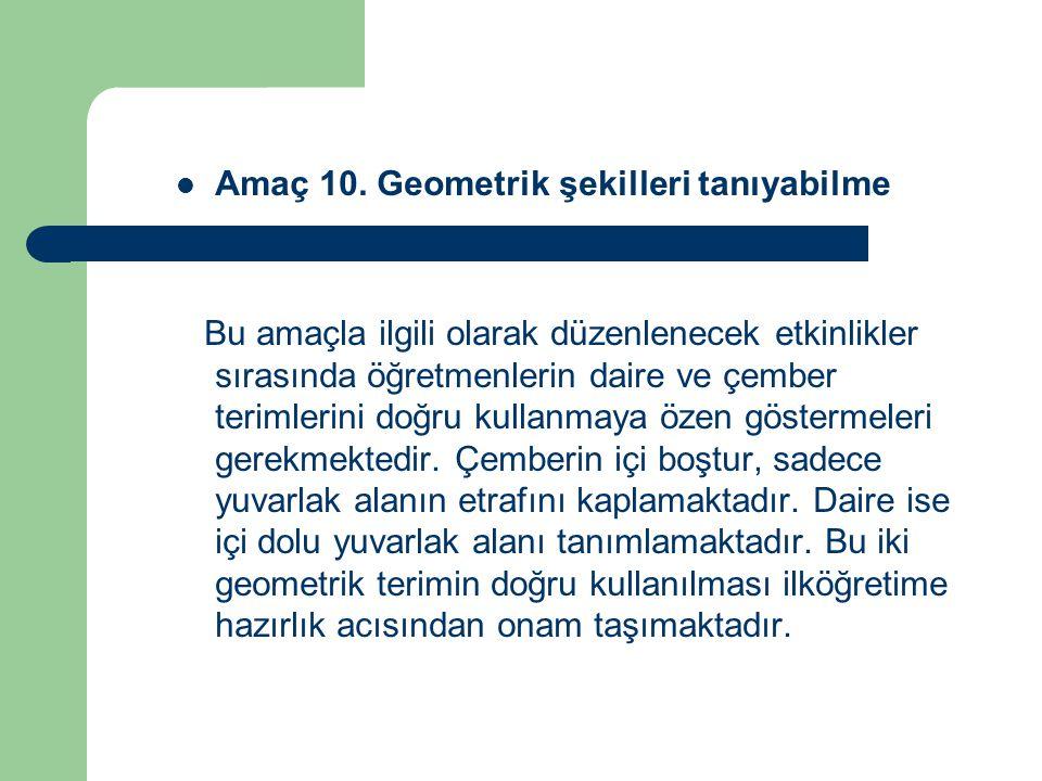 Amaç 10. Geometrik şekilleri tanıyabilme
