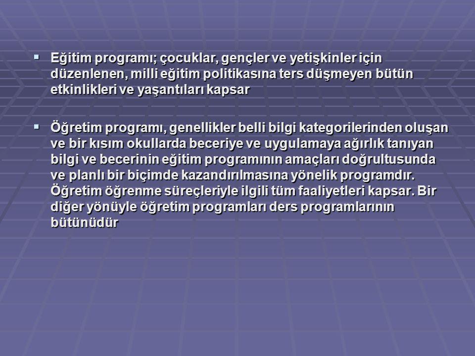 Eğitim programı; çocuklar, gençler ve yetişkinler için düzenlenen, milli eğitim politikasına ters düşmeyen bütün etkinlikleri ve yaşantıları kapsar