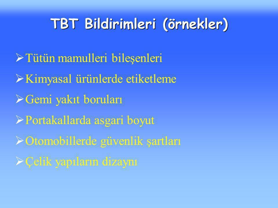 TBT Bildirimleri (örnekler)