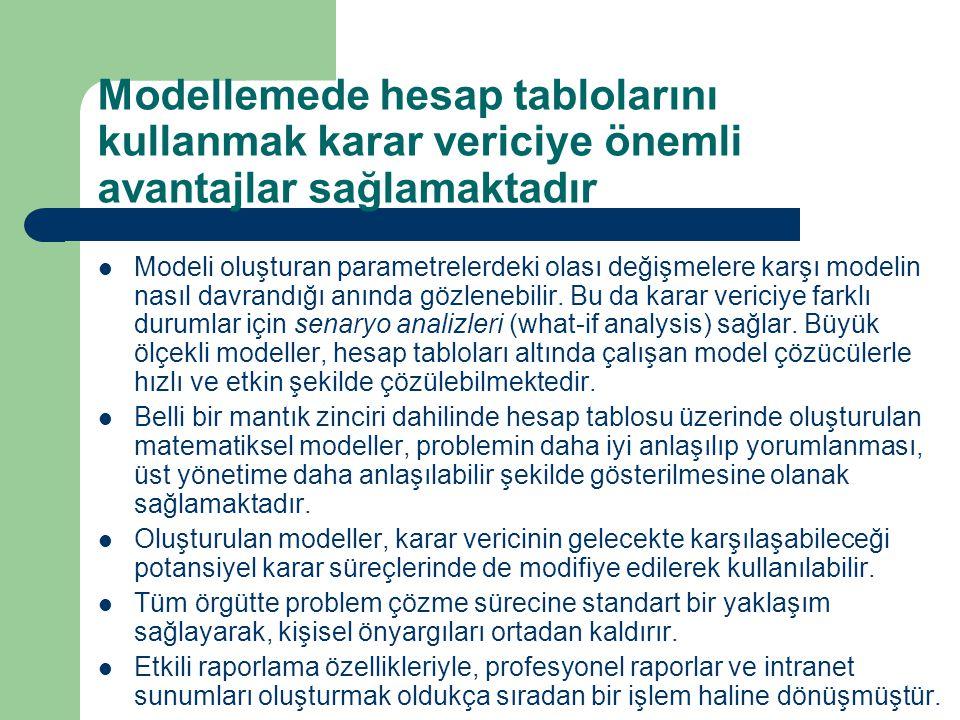 Modellemede hesap tablolarını kullanmak karar vericiye önemli avantajlar sağlamaktadır