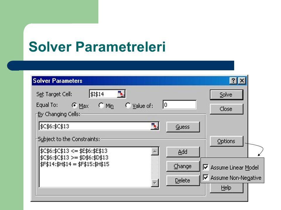 Solver Parametreleri