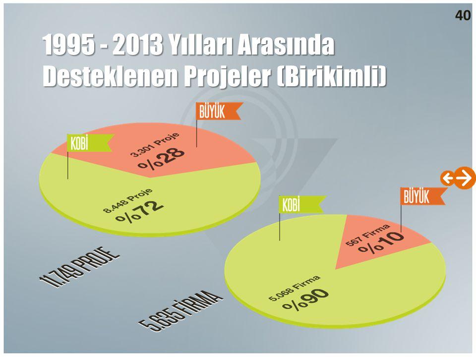 1995 - 2013 Yılları Arasında Desteklenen Projeler (Birikimli)
