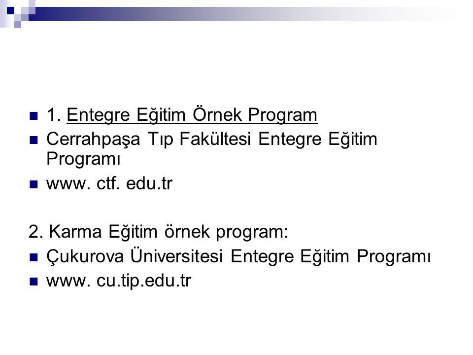 1. Entegre Eğitim Örnek Program