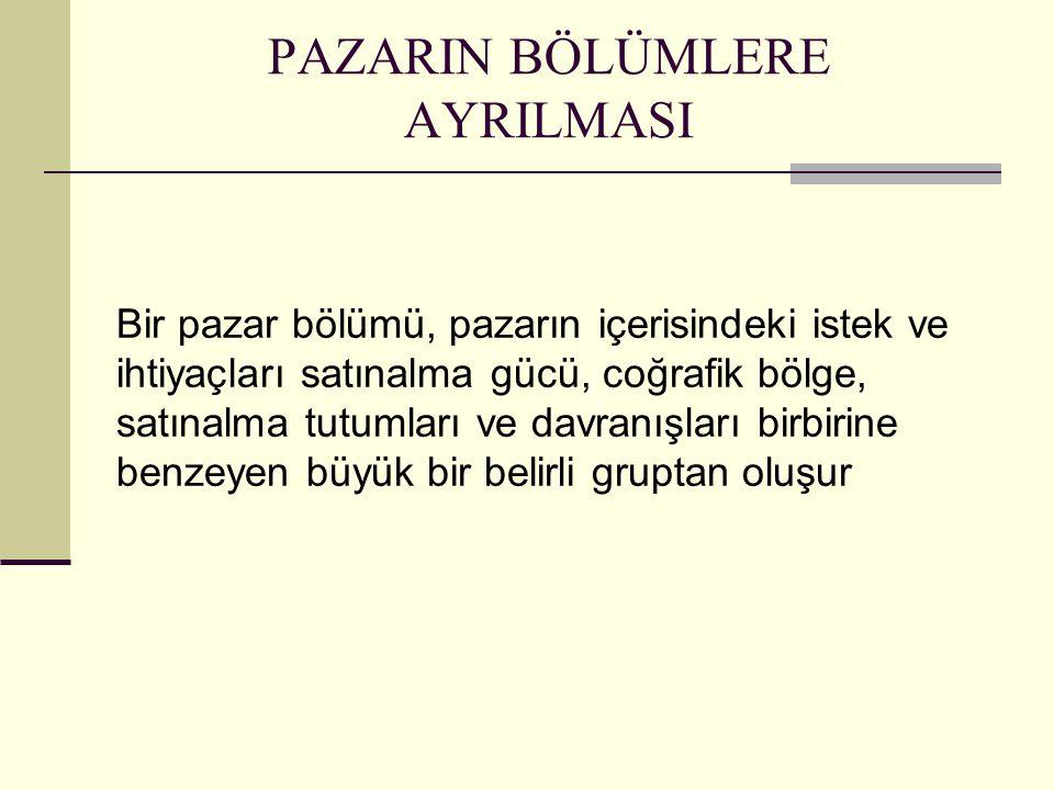PAZARIN BÖLÜMLERE AYRILMASI