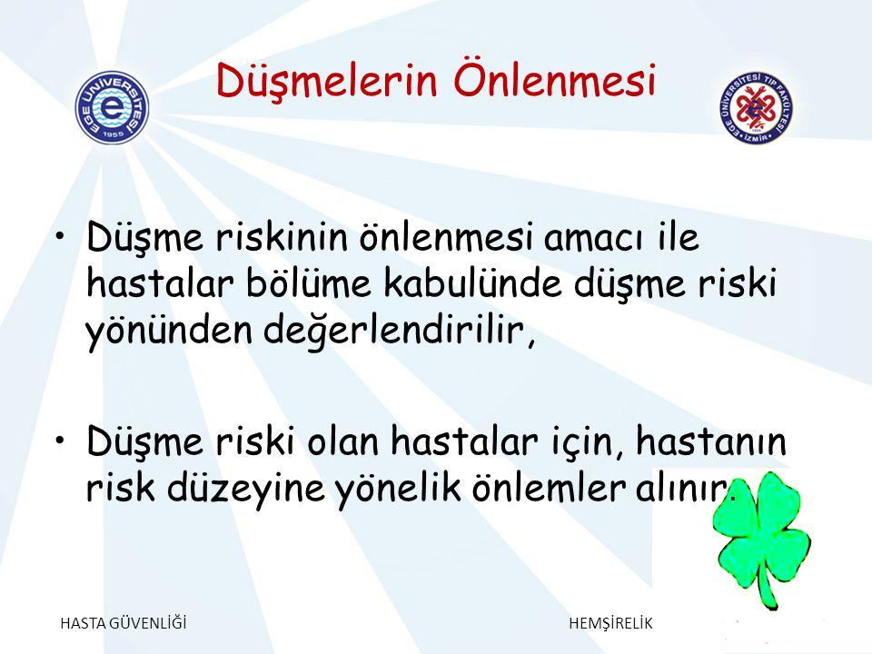 Düşmelerin Önlenmesi Düşme riskinin önlenmesi amacı ile hastalar bölüme kabulünde düşme riski yönünden değerlendirilir,