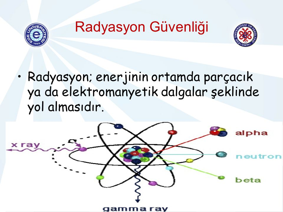 Radyasyon Güvenliği Radyasyon; enerjinin ortamda parçacık ya da elektromanyetik dalgalar şeklinde yol almasıdır.