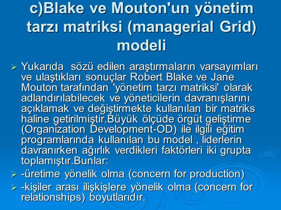 c)Blake ve Mouton un yönetim tarzı matriksi (managerial Grid) modeli