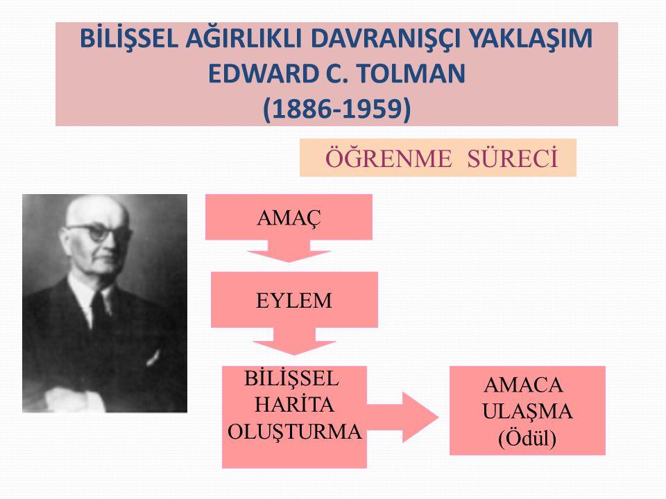 BİLİŞSEL AĞIRLIKLI DAVRANIŞÇI YAKLAŞIM EDWARD C. TOLMAN (1886-1959)