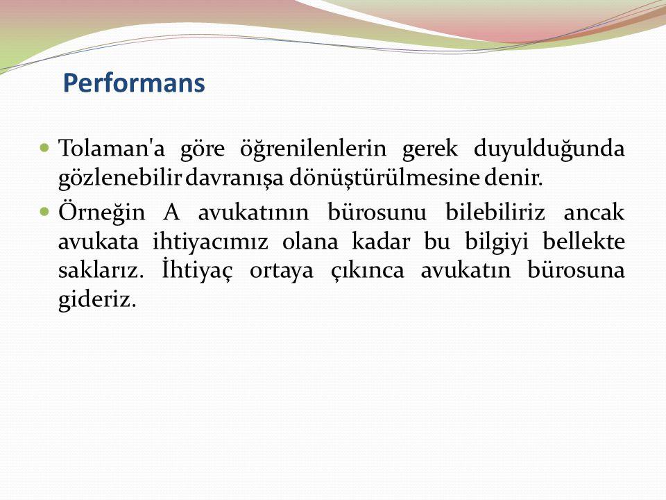 Performans Tolaman a göre öğrenilenlerin gerek duyulduğunda gözlenebilir davranışa dönüştürülmesine denir.