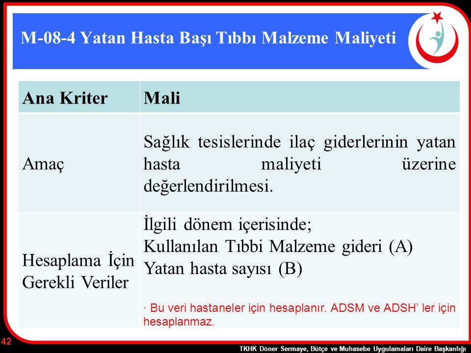 M-08-4 Yatan Hasta Başı Tıbbı Malzeme Maliyeti