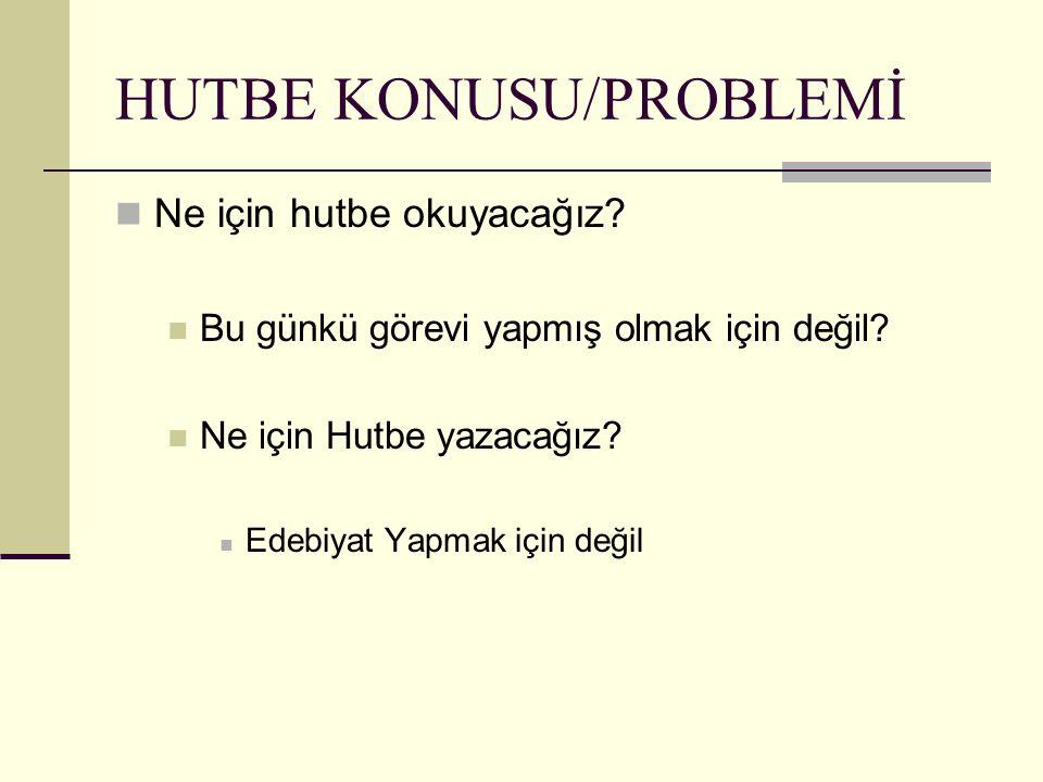 HUTBE KONUSU/PROBLEMİ