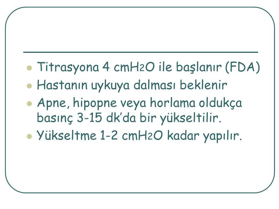 Titrasyona 4 cmH2O ile başlanır (FDA)