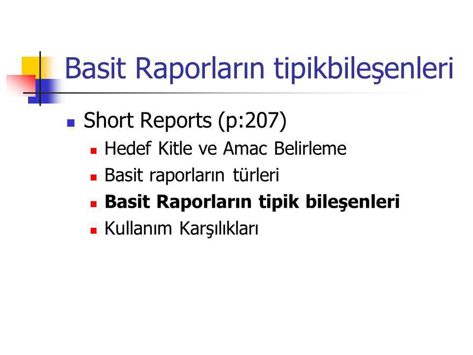 Basit Raporların tipikbileşenleri