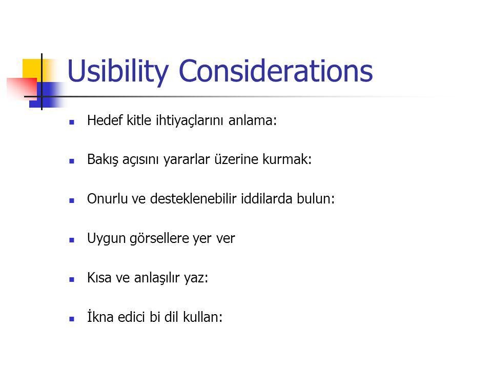 Usibility Considerations