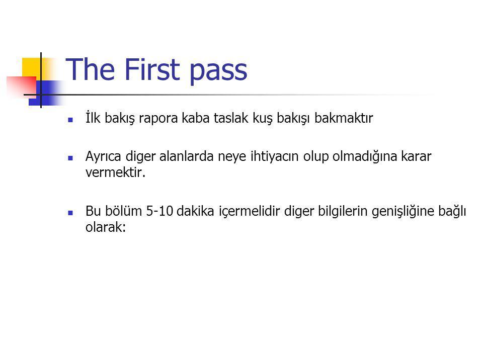 The First pass İlk bakış rapora kaba taslak kuş bakışı bakmaktır