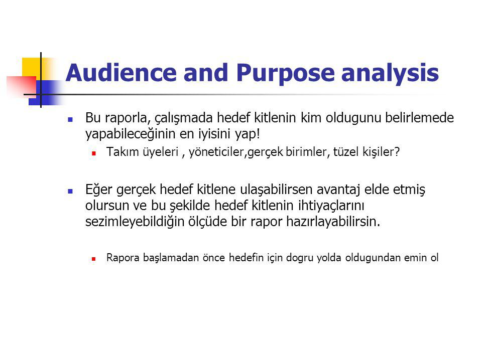 Audience and Purpose analysis