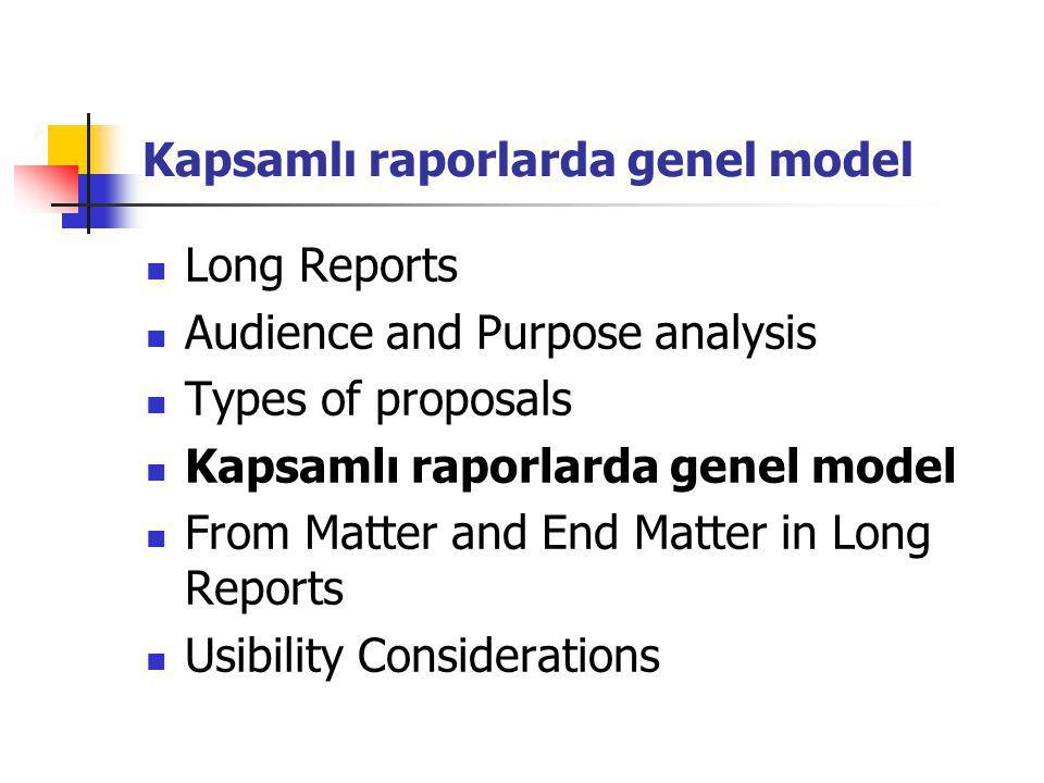 Kapsamlı raporlarda genel model
