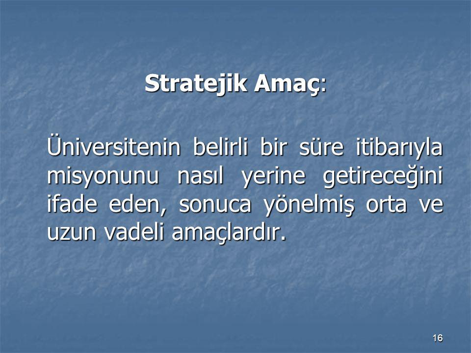 Stratejik Amaç:
