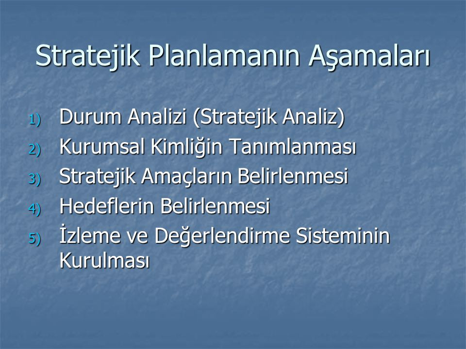 Stratejik Planlamanın Aşamaları