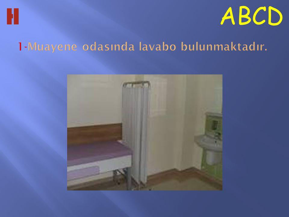 1-Muayene odasında lavabo bulunmaktadır.