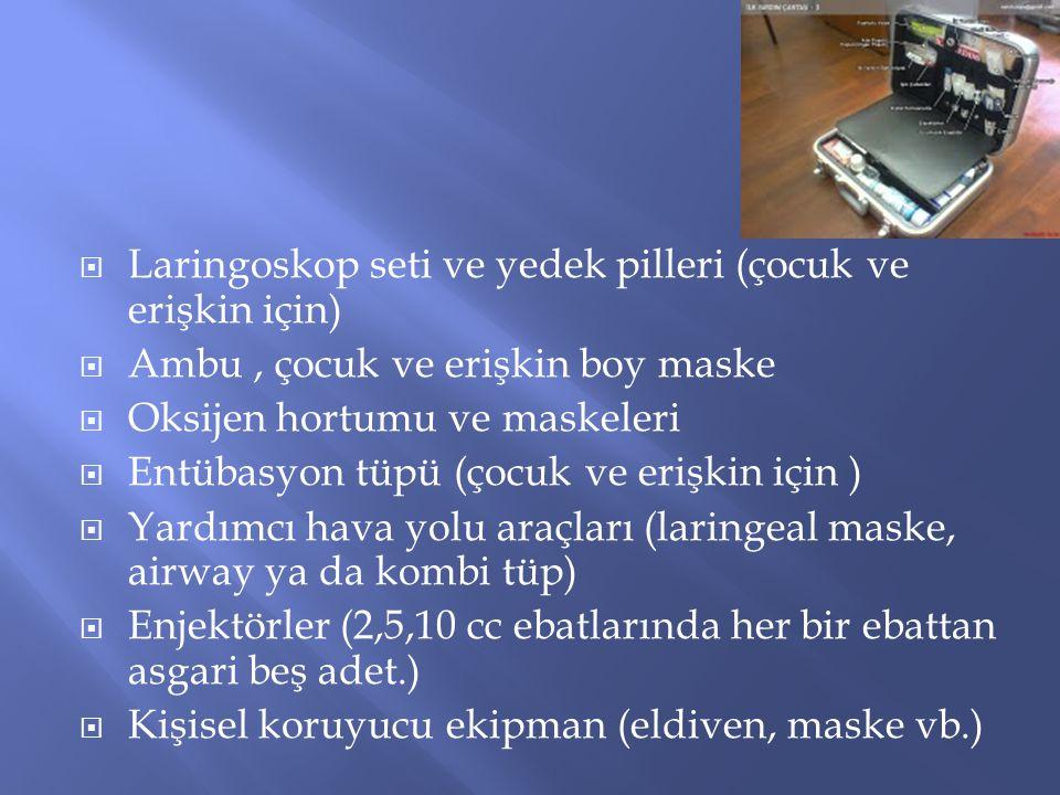 Laringoskop seti ve yedek pilleri (çocuk ve erişkin için)