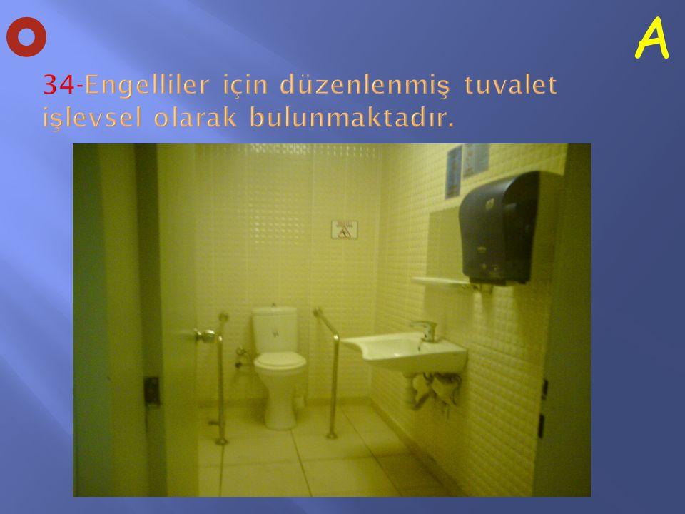 34-Engelliler için düzenlenmiş tuvalet işlevsel olarak bulunmaktadır.