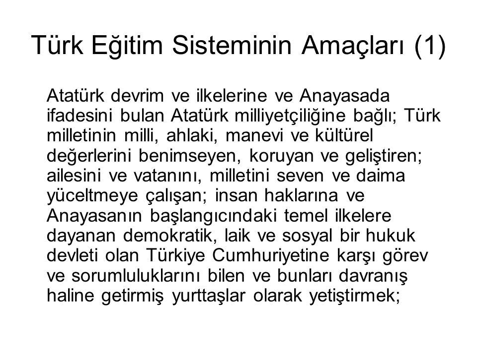 Türk Eğitim Sisteminin Amaçları (1)