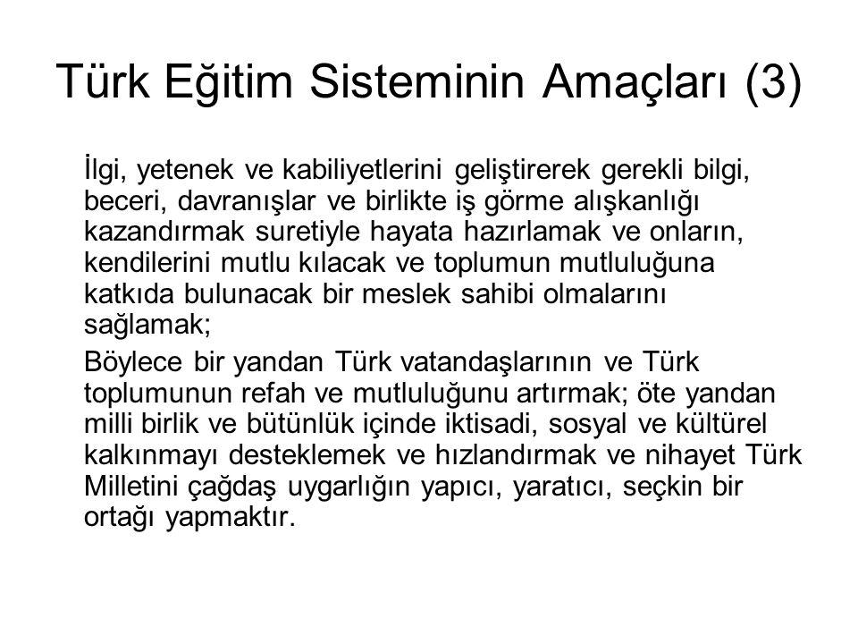 Türk Eğitim Sisteminin Amaçları (3)