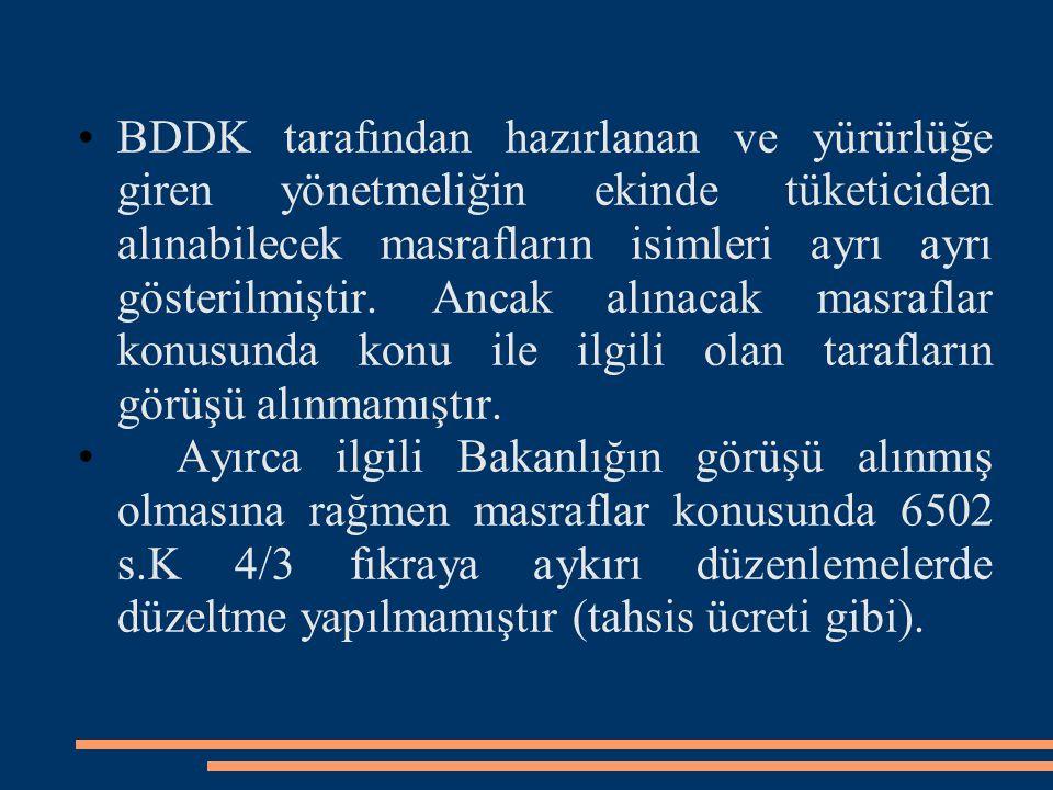 BDDK tarafından hazırlanan ve yürürlüğe giren yönetmeliğin ekinde tüketiciden alınabilecek masrafların isimleri ayrı ayrı gösterilmiştir. Ancak alınacak masraflar konusunda konu ile ilgili olan tarafların görüşü alınmamıştır.