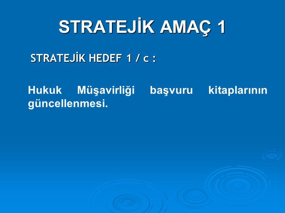 STRATEJİK AMAÇ 1 STRATEJİK HEDEF 1 / c :