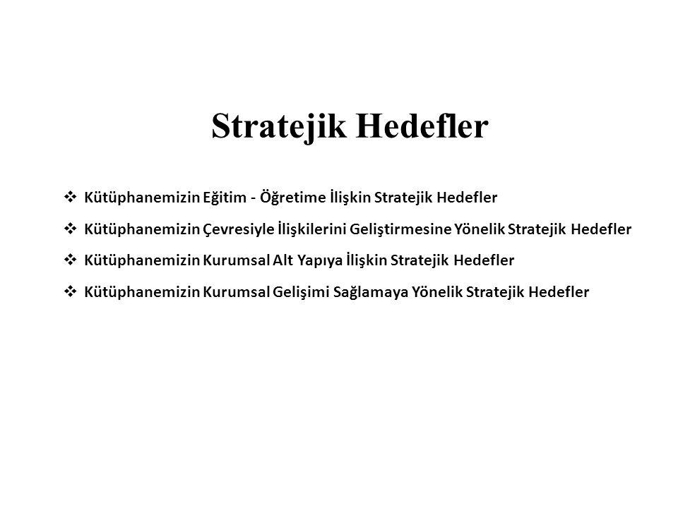 Stratejik Hedefler Kütüphanemizin Eğitim - Öğretime İlişkin Stratejik Hedefler.