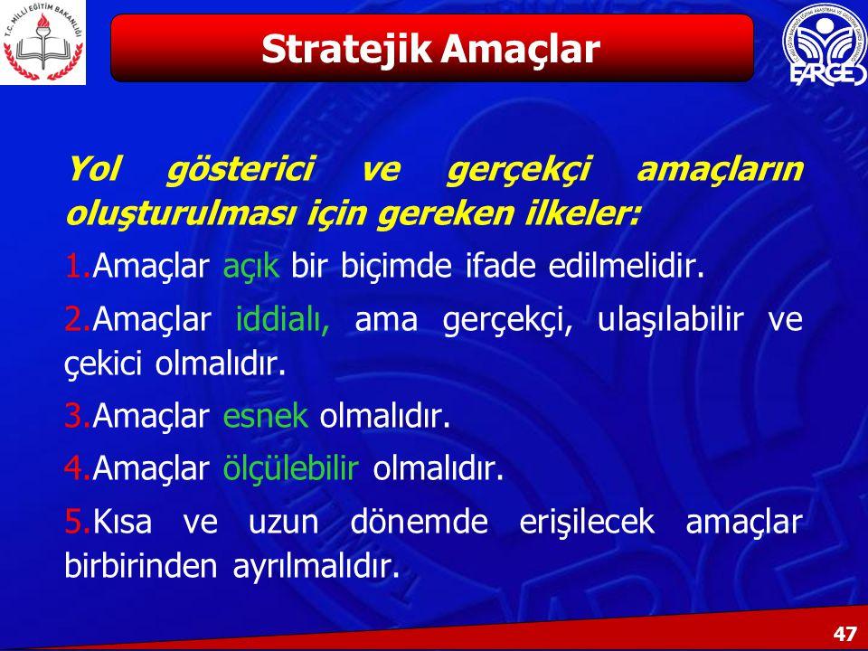 Stratejik Amaçlar Yol gösterici ve gerçekçi amaçların oluşturulması için gereken ilkeler: Amaçlar açık bir biçimde ifade edilmelidir.