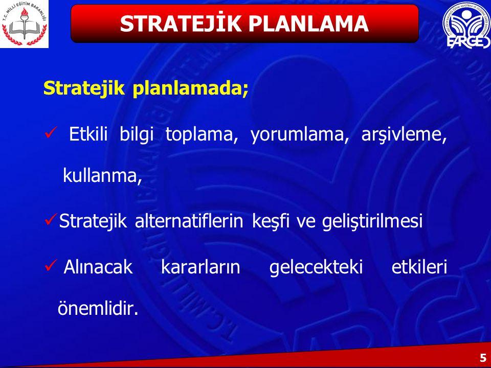 STRATEJİK PLANLAMA Stratejik planlamada;