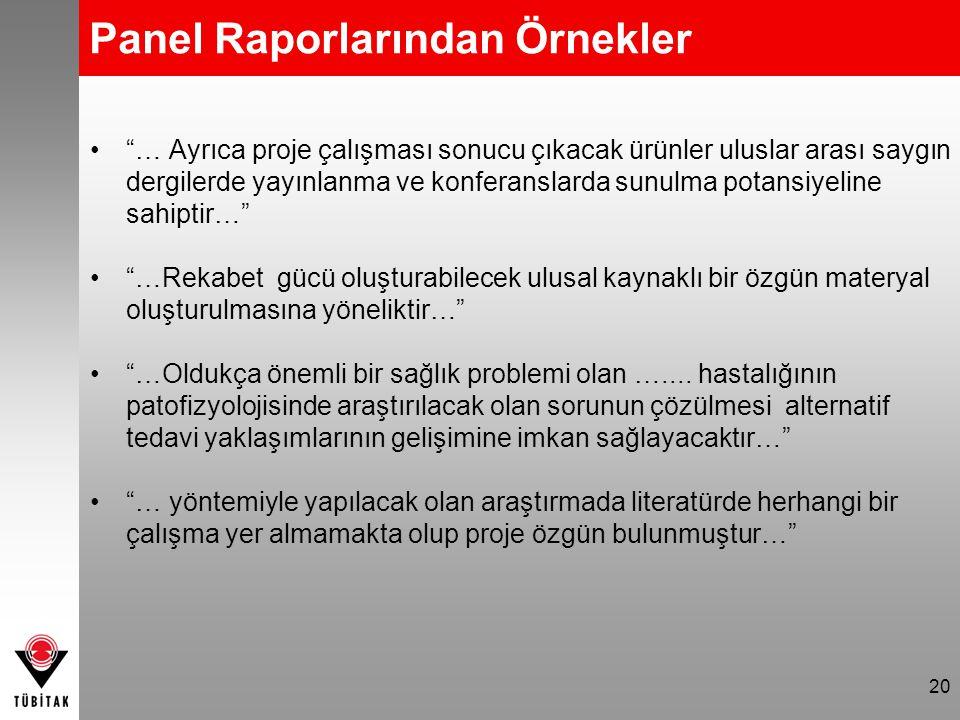 Panel Raporlarından Örnekler