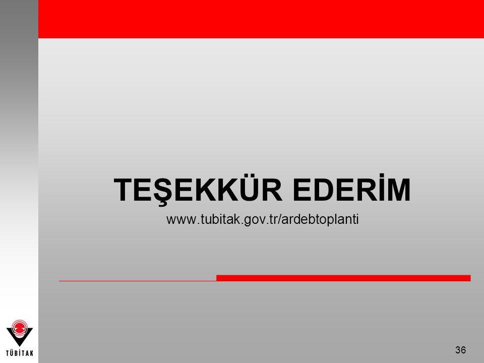 TEŞEKKÜR EDERİM www.tubitak.gov.tr/ardebtoplanti