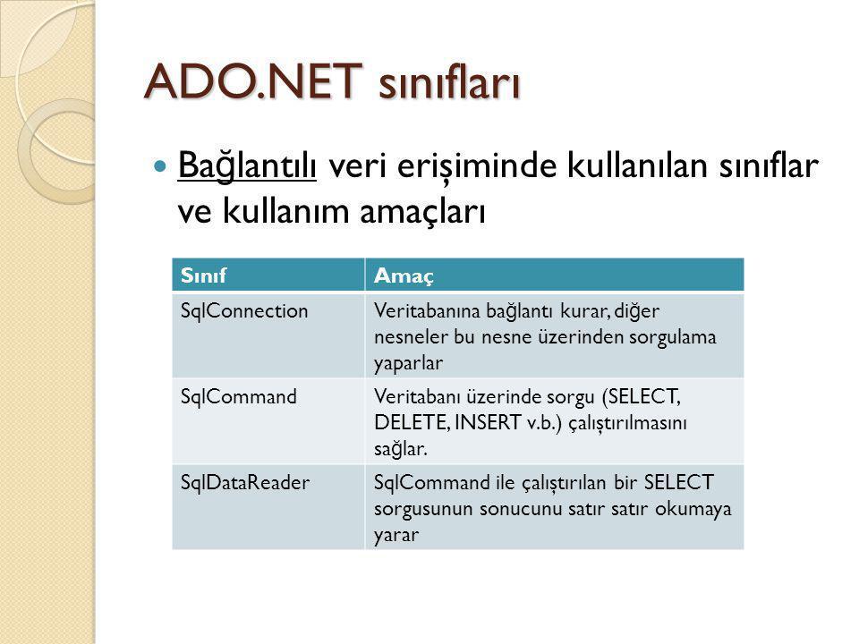ADO.NET sınıfları Bağlantılı veri erişiminde kullanılan sınıflar ve kullanım amaçları. Sınıf. Amaç.