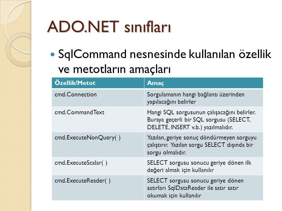 ADO.NET sınıfları SqlCommand nesnesinde kullanılan özellik ve metotların amaçları. Özellik/Metot.