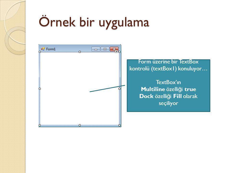 Örnek bir uygulama Form üzerine bir TextBox kontrolü (textBox1) konuluyor… TextBox'ın. Multiline özelliği true.