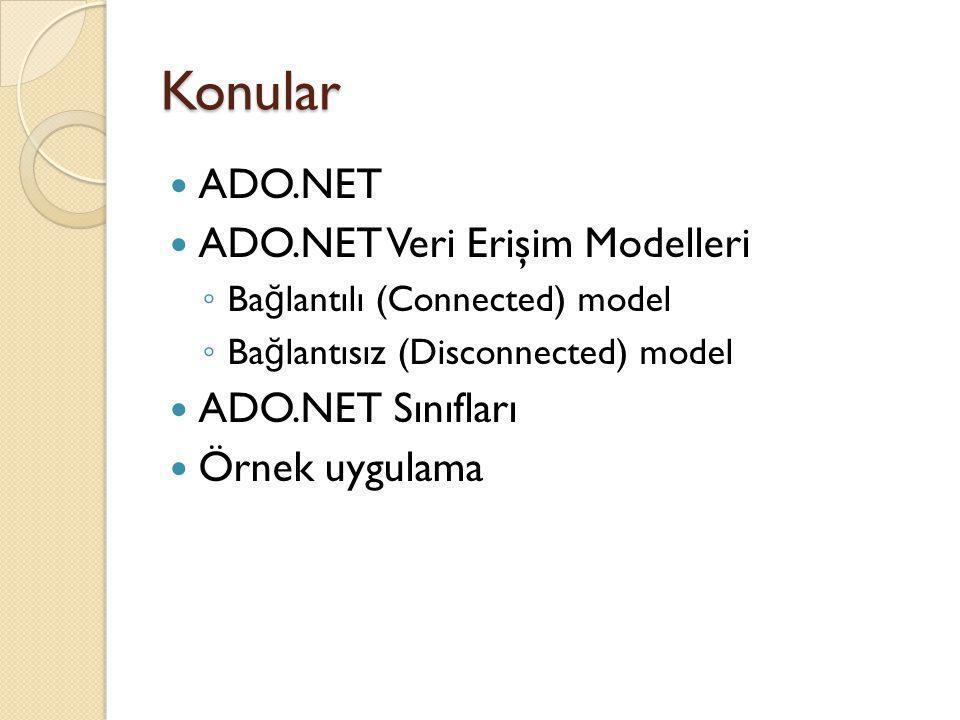 Konular ADO.NET ADO.NET Veri Erişim Modelleri ADO.NET Sınıfları