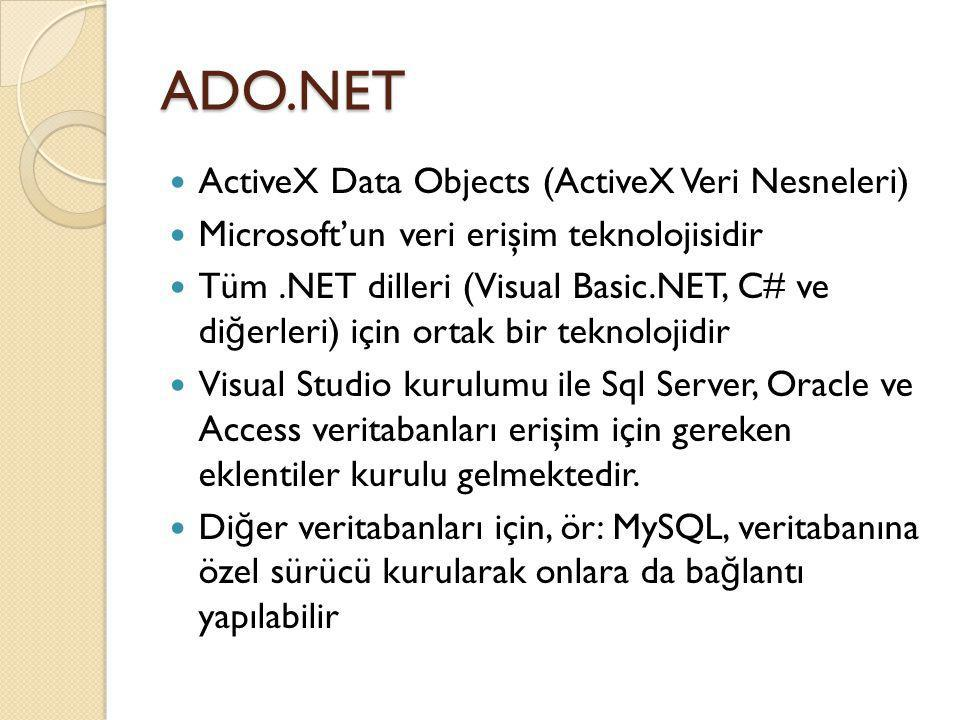 ADO.NET ActiveX Data Objects (ActiveX Veri Nesneleri)
