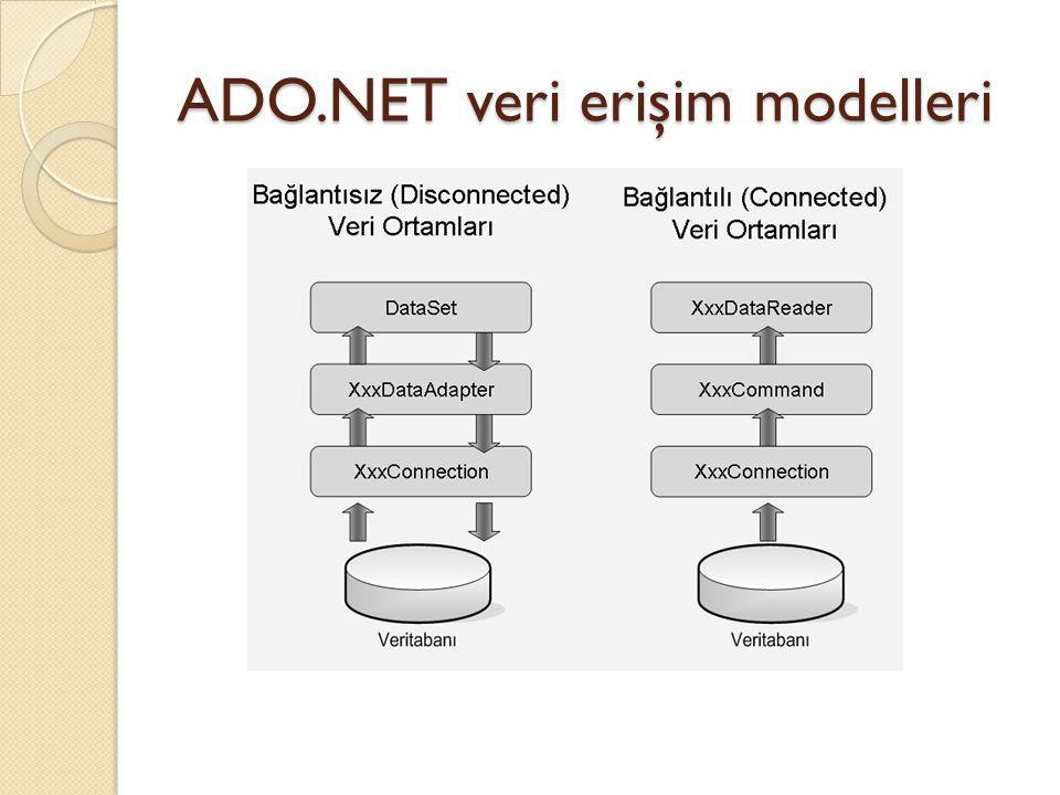 ADO.NET veri erişim modelleri