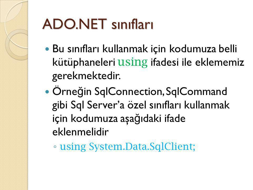 ADO.NET sınıfları Bu sınıfları kullanmak için kodumuza belli kütüphaneleri using ifadesi ile eklememiz gerekmektedir.