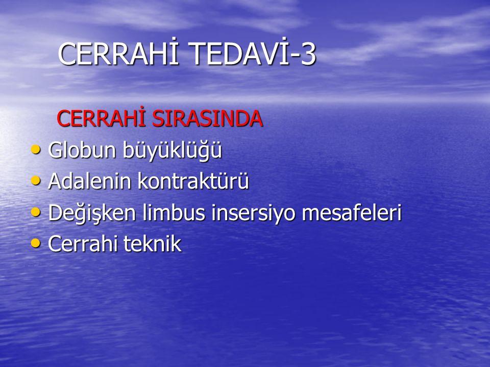 CERRAHİ TEDAVİ-3 CERRAHİ SIRASINDA Globun büyüklüğü
