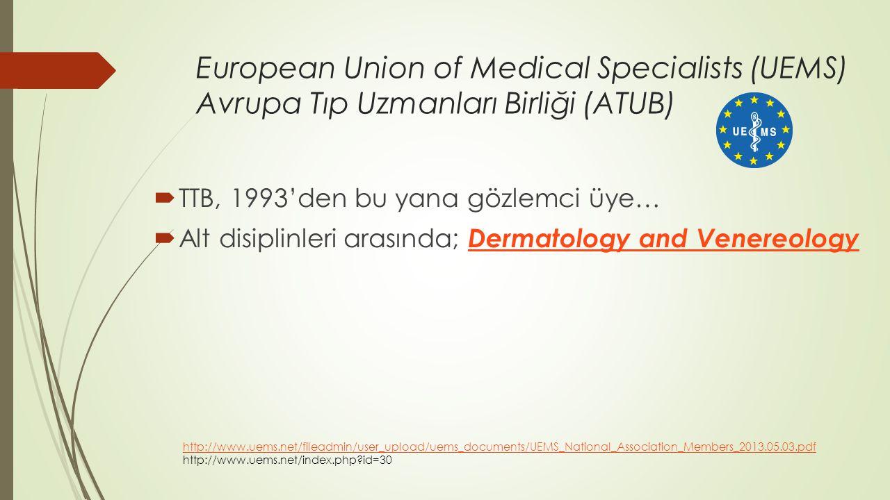 European Union of Medical Specialists (UEMS) Avrupa Tıp Uzmanları Birliği (ATUB)