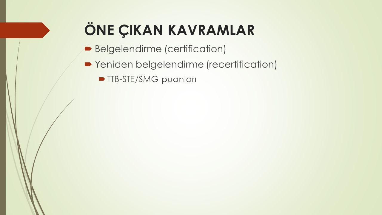 ÖNE ÇIKAN KAVRAMLAR Belgelendirme (certification)