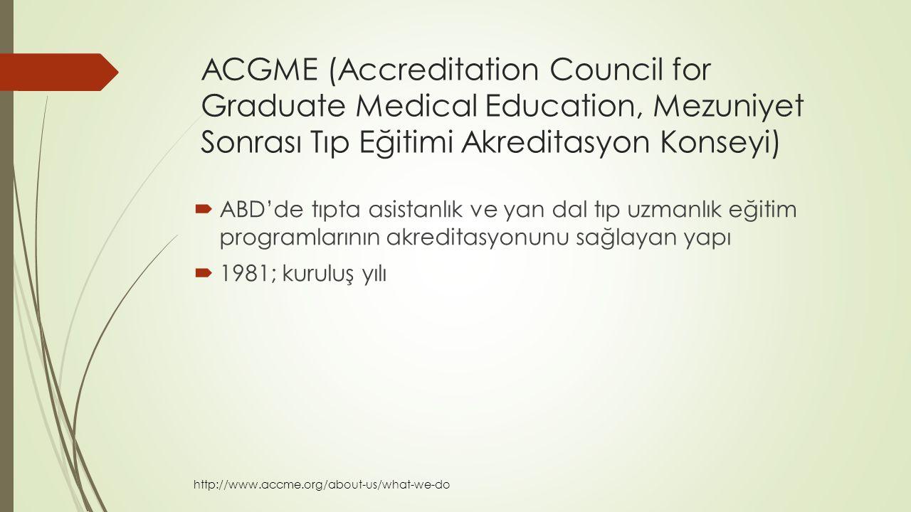 ACGME (Accreditation Council for Graduate Medical Education, Mezuniyet Sonrası Tıp Eğitimi Akreditasyon Konseyi)