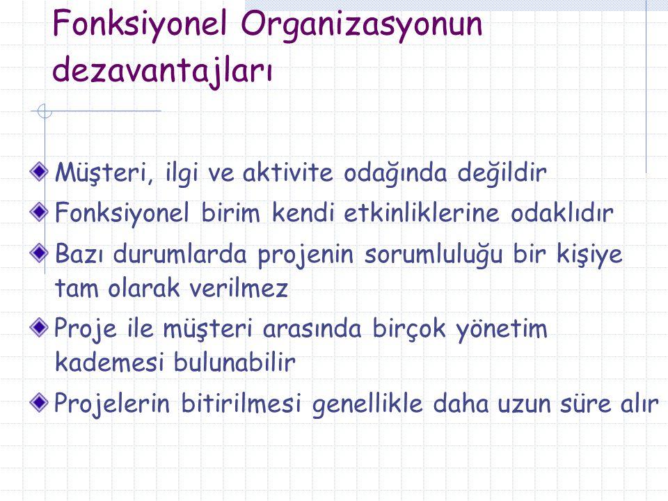 Fonksiyonel Organizasyonun dezavantajları